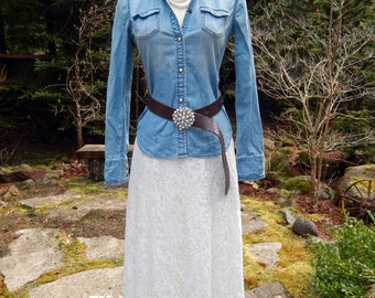 Country Chic  Lace Rustic Wedding Skirt-Denim top combo-both or one-choice of laces we will discuss