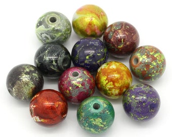 Acrylic Painted Beads - 20mm - Set of 10 - #RB121