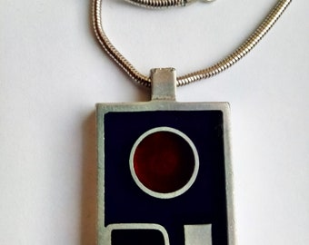 Vintage Hand-crafted Pendant '80s, Iron with Black, Deep Red and Deep Blue Resin Inset
