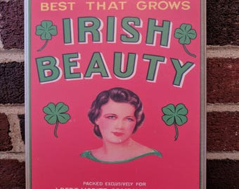 Reproduction of Vintage Vegetable Crate Label - Irish Beauty - advertisement
