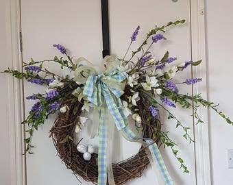 Artificial Spring Door Wreath with A Birds Nest- Decoupaged Eggs in a Lavender print - Indoor and Outdoor-Handmade Made with Ivy