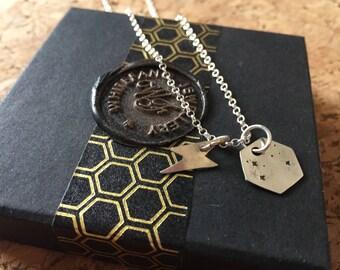 Lightening bolt & Moon necklace
