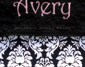 Custom Girl Baby Blanket - Monogram Minky and Damask Cotton Toddler Blanket - Personalized with Embroidered Name - Black and White - 36x40