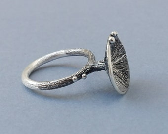 Oxidized Silver Seaweed Ring, Sterling silver Ring, Solitarie Silver Ring, Nature Silver Ring, Oxidized silver Ring, Organic Silver Ring