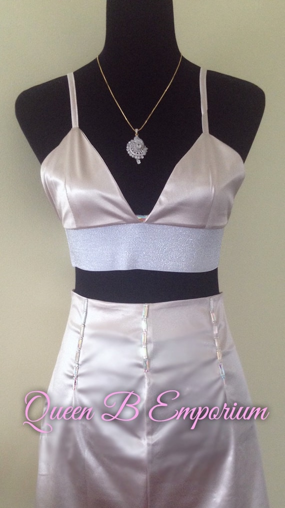 Two Piece Crystal Gold Beaded Cream Classy Dress Clubwear Outfit 2 Piece set Size M L Medium Queen B Emporium Diamond Quality Royal Outfit