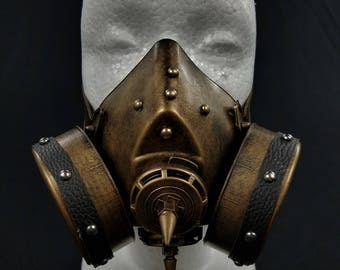 Gold Steampunk Gas Mask | Costume Halloween Dance Venetian Stud Cosplay