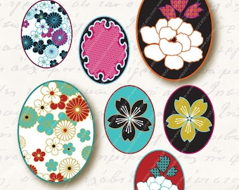 Japanese Kimono 18x25mm Ovals for Pendants, Digital Collage Sheet, Download and Print JPEG Clip Art Images