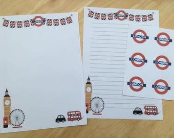 London Set of 24 letter writing paper & 6envelope seals