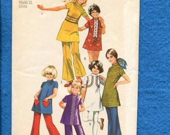 1970's Simplicity 9535 Mod Little Girl's Bell Bottom Pants & Tunics or Dresses  Size 4 UNCUT