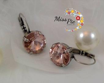Vintage Rose Rivoli Earrings