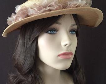 Vintage 30's Hat, 1930's Straw Hat, Organza Flowers, Madame Daunou de Paris Label