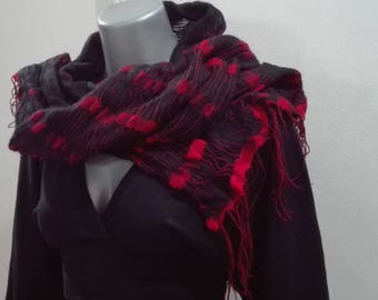 Wet felted scarf felted wrap black and red scarf merino scarf red - black threads scarf with fringes lacy scarf double-sided wrap gipsy look