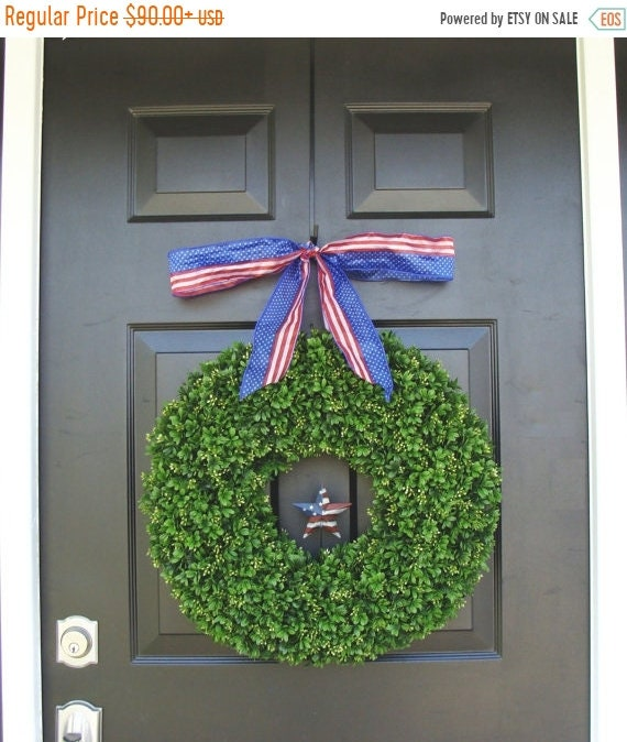 SPRING WREATH SALE Memorial Day Wreath- Fourth of July Wreath- Summer Wreath American Flag Ribbon- Americana Rustic Star Wreath- Summer Wrea
