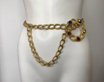 Vtg 80s gold chain and rainbow rhinestone jewel belt