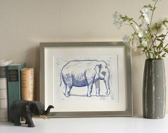 Éléphant, original bleu grise, fait main, édition limitée, gravure, linogravure, deux impression couleur, art, illustration animale.