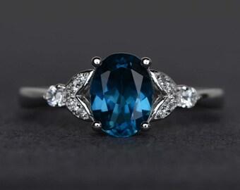 London blue topaz ring blue topaz ring oval cut engagement ring sterling silver ring promise ring November birthstone