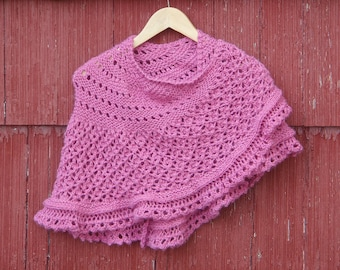 Pink Shawl. Hand Knitted shawl. knit shawl. knitted wrap, handknit shawlette, knit lace shawl, Gift For her / Ready to Ship