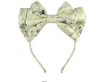 Lolita bow headbow antique white with floral weave japanese fabric headband head band alice headdress handmade accessory