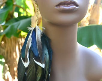 Real Feather Earring, Iridescent Mallard Duck Feather Earring, Long Black Single Feather Earring , Blue and Black Feathers with White Tips