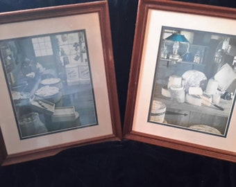 Pair of Very Old Primitive Store Pictures in Blues and Whites