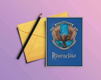 Ravenclaw Printable Gift Card - Holiday Gift Card- Greeting Card with Harry Potter Quote -A6,A5,A4 formats -INSTANT DOWNLOAD