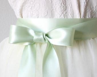 Mint green wedding etsy mint green wedding sash light green sash seafoam sash satin ribbon belt junglespirit Images