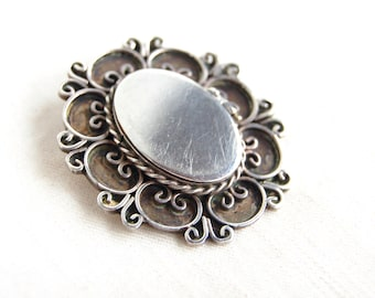 Large Mexican Locket Secret Compartment Cameo Pendant Vintage Sterling Silver Statement Jewelry from Mexico
