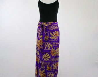 Vintage Tropical Fish Rayon Wrap Skirt
