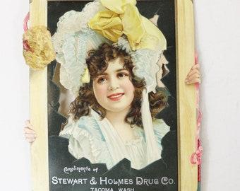 Victorian Die Cut Advertising Card of Girl Looking Through Broken WIndow WA