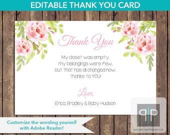 INSTANT DOWNLOAD Girl Floral Baby Shower Thank You Card, Printable Roses Baby Shower Thank You Card, Editable Baby Shower Thank You Card, P1