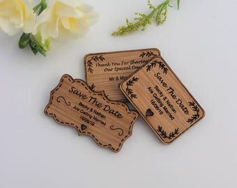 SAMPLE ONLY - Engraved Favour/Save the Date - Save the Date - Thank you Magnets - Varying Shapes and styles - Oak engraved magnets
