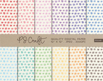 CONFETTI Dots Watercolor Digital Papers, Polka Dot Background,  Polka Dot Clip Art, Pastel Colors Dots