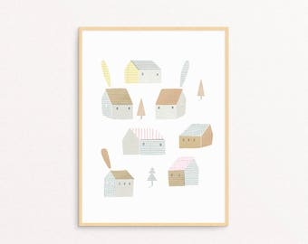 Paper Houses, Illustration Print, FRAMED/UNFRAMED Print, Wall Art, Hand Made, Drawing, Paper Cut, Colored Pencils Drawing