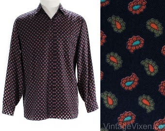 Size 10 Rodier Paris 1990s Shirt - Black Brown Turquoise Paisley Print Cotton - Oversize Blouse - French 90s Designer - Bust 42 - 50049