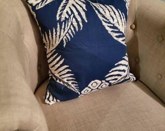 Pina Navy Palm Pillow