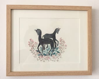 Watercolor painting of baby horses, original watercolor painting, watercolor animal painting