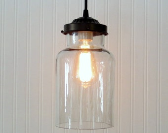 Clear Apothocary Bottle Semi-Flush Light with Edison Bulb Reserved for Jamie