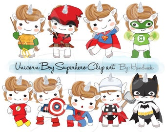 Cute Unicorn Boy Superhero Clip art instant download PNG file - 300 dpi.