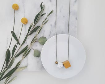 Aria Necklace | Geometric trio | White & Marigold