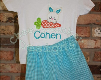 Easter Bunny and Carrot Personalized Shirt Outfit monogram applique initials name long short sleeve shorts pants