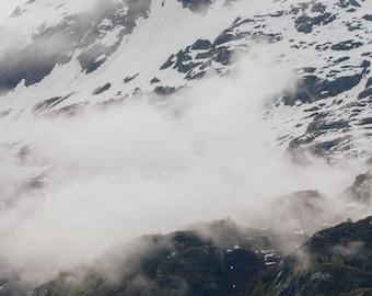 alaska landscape photography glacier bay national park mountain decor snow and fog large living room nature art AK08