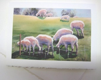 Sheep - sheep art print - Note Card - Blank - 5 x7 - Greeting Card -  Over the Hill - Green - Whimsy