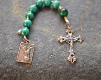 Anglican Chaplet  Protestant Prayer Beads   Green Malachite and Tiger Eye  Chaplet   Episcopal Prayer Beads   Christian Mediation Beads