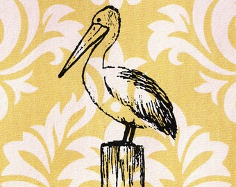 Pelican Stamp - Pelican standing on an ocean wood piling: Wood Mounted Rubber Stamp