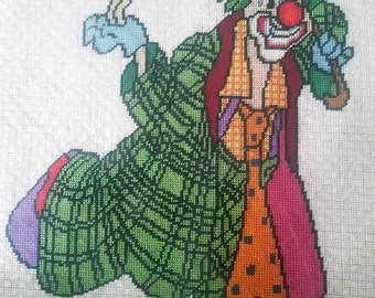1980s Vintage Stitch Art of Clown and small dog
