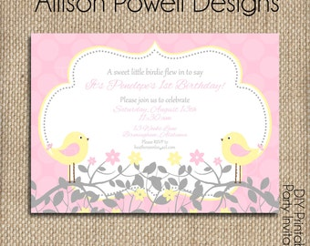 Little Birdie Pink  Birthday Party - DIY Birthday Invitation
