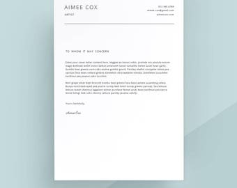 Rsum templates etsy simple cover letter template cover letter letterhead word template simple cover letter thecheapjerseys Image collections