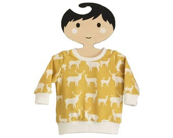 baby sweatshirt, baby top, relaxed top, birch organics, elks, yellow jumper, gender neutral, baby clothes, new baby, gift idea