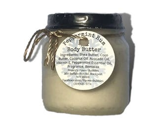 Peppermint Rum Body Butter *Non Greasy!* with Shea and Coco Butter