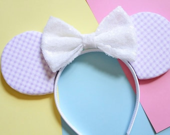 Lilac Gingham Mouse Ears